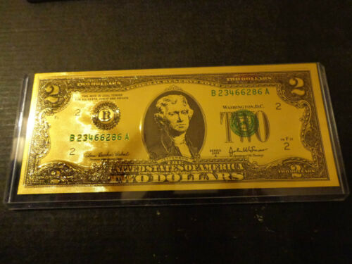LUCKY 24 KT GOLDEN  2 DOLLAR NOTE Gold $ 2 Wish Bill of Fortune $ 2 Two Dollar