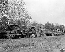 Photograph  WWI USMC Marines Motor Pool Trucks 1917c  8x10
