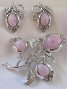 Image Is Loading Coro Brooch Earring Set Pink Fl Silver Tone