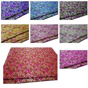 Faux-Silk-Brocade-Whirligig-Leaf-Jacquard-Damask-Kimono-Fabric-Material-BA6