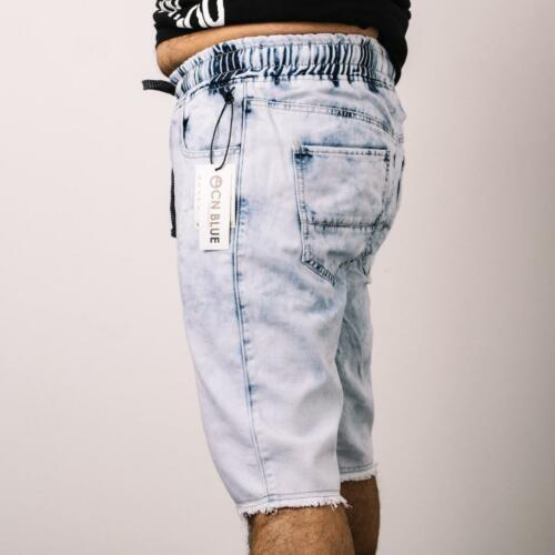 New Men/'s CN Blue Drop Crotch Ice Blue Frayed Bottom Jogger Shorts CS-5139