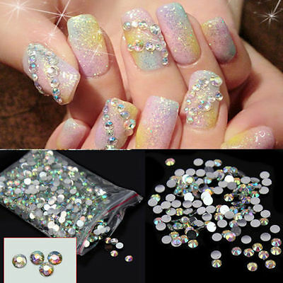 4000pcs Faceted Glass Nail Art Nagel Glitter Regenbogen Strass Beads 2mm Jewelry