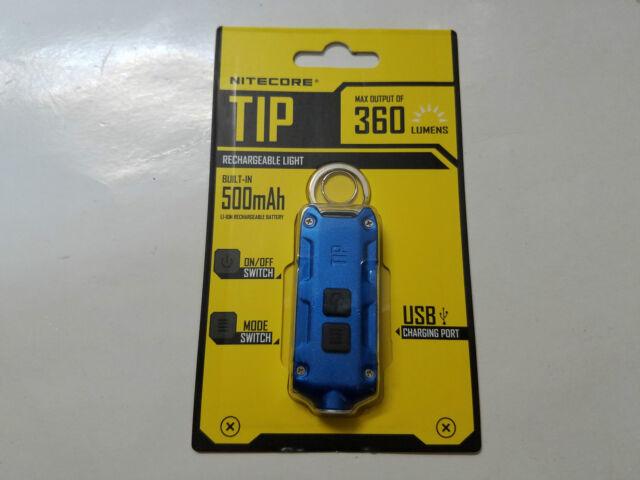 NiteCore TIP CREE XP-G2 LED USB Keychain Flashlight 360Lumens (Blue)