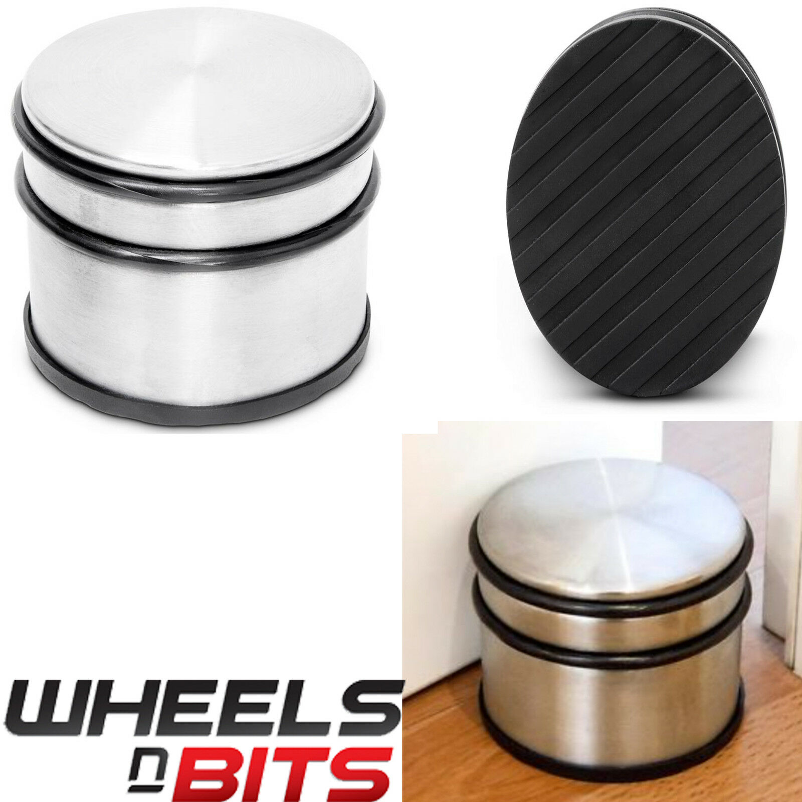 4 x STAINLESS STEEL & RUBBER DOOR STOP HIGH QUALITY BRUSHED CHROME 1.1kg WEIGHT
