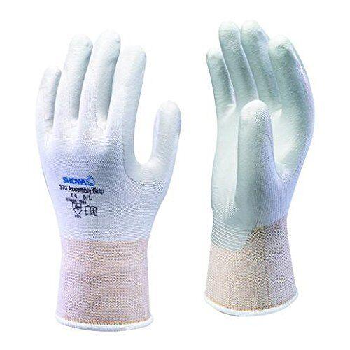 5 Paare SHOWA 370 Montage Griff Nitril Handfläche weiße handschuhe Größen 5//XS