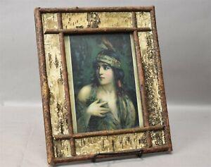 Antique-Adirondack-Boule-Twig-Folk-Primitive-Wooden-Frame-c1900s-11-034-x-9-034