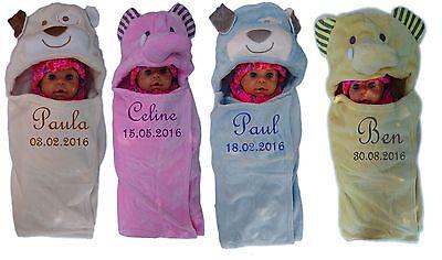 Baby Taglio Soletta Con Nomi Ricamati Baby Coperta 3d Cappuccio Battesimo Regalo Nascita-