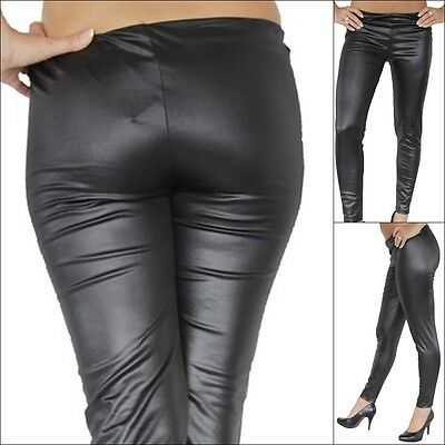 Sexy Leggings Leggins Lederoptik Wetlook Legings Glanz Legins Schwarz XS-XXL Neu