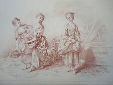 D'AP. F.BOUCHER 1703-1770 LITHO XIX° SANGUINE FEMME FLEUR ROMANTIQUE ROCOCO ak