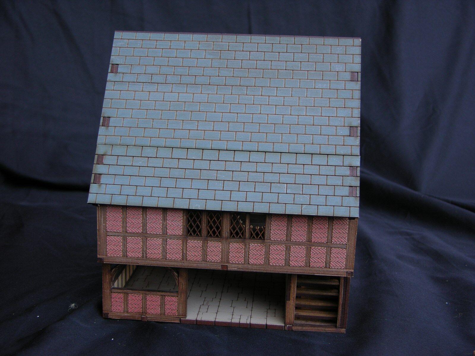 WARHAMMER SCENERY , LASER CUT,  HANDMADE MERCHANT'S HOUSE, PAINTED