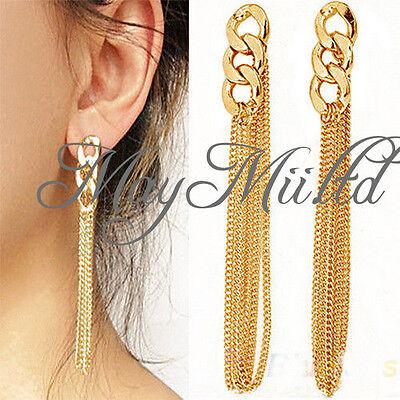 Retro Women Long Chunky Chain Earrings Golden Tassel Chain Ear Stud Pendant  G