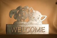 Adorable Cat And Dog Welcome Sign Plasma Cut Metal Wall Art Hanging Home Decor