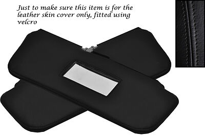 BLACK STITCHING FITS FORD ESCORT MK2 2X SUN VISORS LEATHER COVERS ONLY