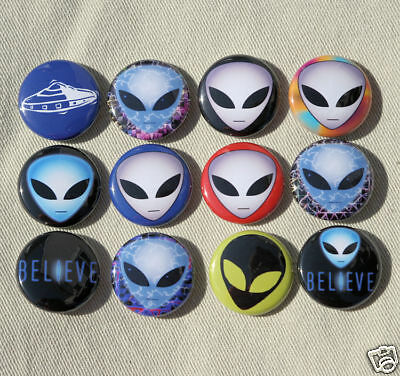 "12 ALIENS Buttons Pinbacks Badges 1/"" Set Alien UFO Sci-Fi"