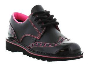 lacci Borsello rosa con brogue Nuovo Lo Kick in donna vernice nero Brogue Kickers qwpTZWS8x