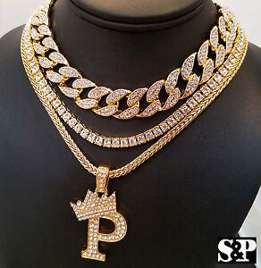 """Candide Hip Hop Quavo Tour De Cou 16"""" Full Glacé Cubain & 1 Rangée Diamant Chaîne & """"p"""" Collier-afficher Le Titre D'origine"""