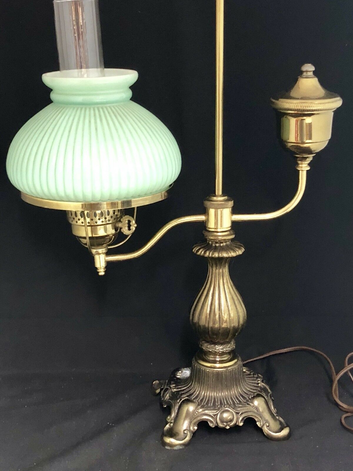 Vintage 1960's Electric Brass Student Lamp w  7  Ribbed Green Melon Shade Works