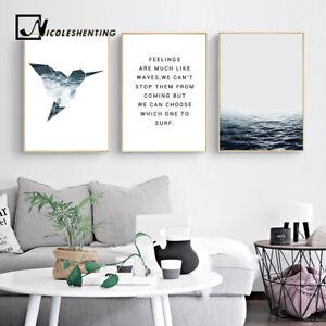 Bird Sea Landscape Canvas Nordic Poster Motivational Art Print Modern Home Decor
