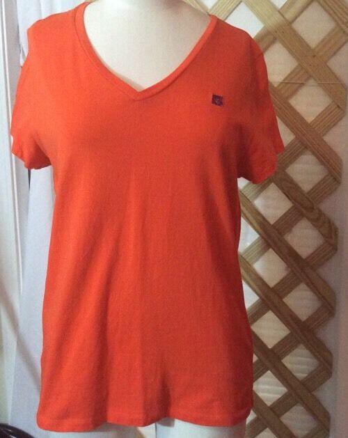 Womans ALine Anne Klein Sport Shirt S-Sleeve Sz L Orange Purple Lion