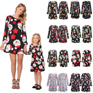 dd8db5f3f Image is loading Mother-Daughter-Matching-Christmas-Dress-Mom-Girl-Dresses-