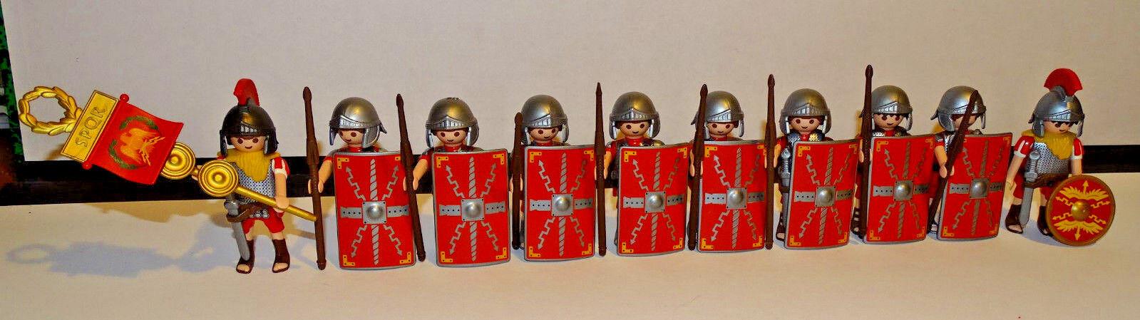 PLAYMOBIL PLAYMOBIL PLAYMOBIL ROMAINS 10 SOLDATS ROMAINS EQUIPES - CENTURION -  ARMES - GLAIVE d14d86