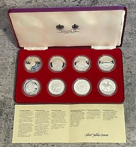 Spink & Sons - Sterling Silver Elizabeth II Silver Jubilee 1977 8 x Crown Set