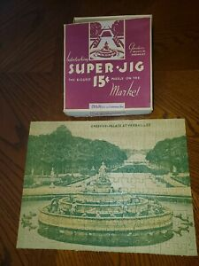 Vintage Super-Jig Jigsaw Puzzle OB Andrews Chattanooga TN Gardens Versailles Old
