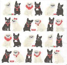 2 Serviettes en papier Chien - Paper Napkins Dog Mops & Mops