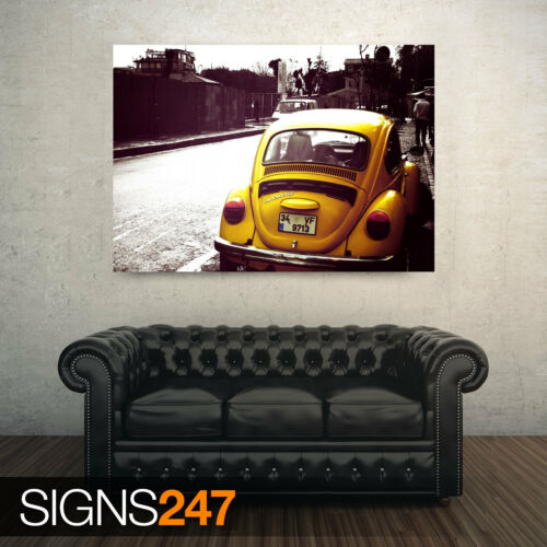 CLASSIC CAR POSTER VOLKSWAGEN BEETLE YELLOW Poster Print Art A1 A2 A3 AA898