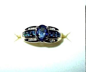 Genuine-1-0-ct-Sapphire-amp-Diamond-Ring-14K-yellow-gold-2500-NWT