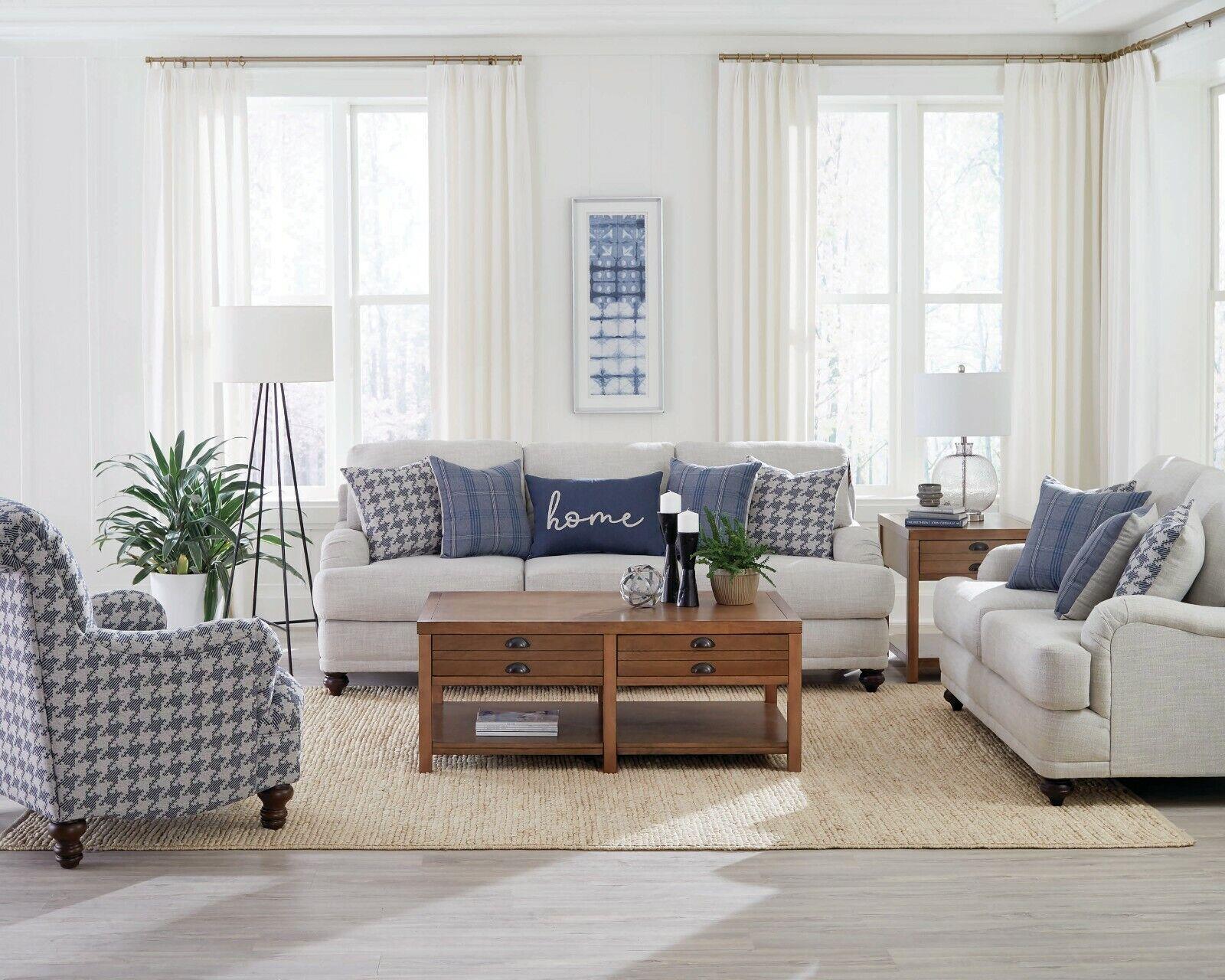 Light Grey Linen Like Farmhouse Sofa