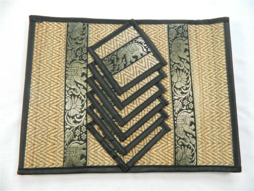 Black Placemats and Coasters Set of 6 Woven Grass Table Mats and Coasters