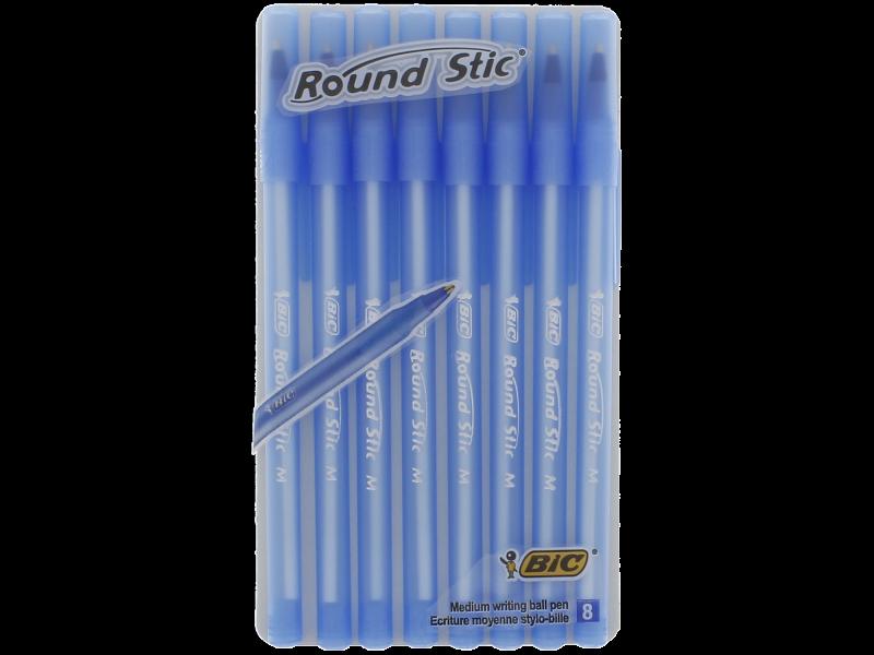 Bic Pens New Bic Round Stic Blue Ink Pens Ball Point Medium Biro Pen 8 Pack