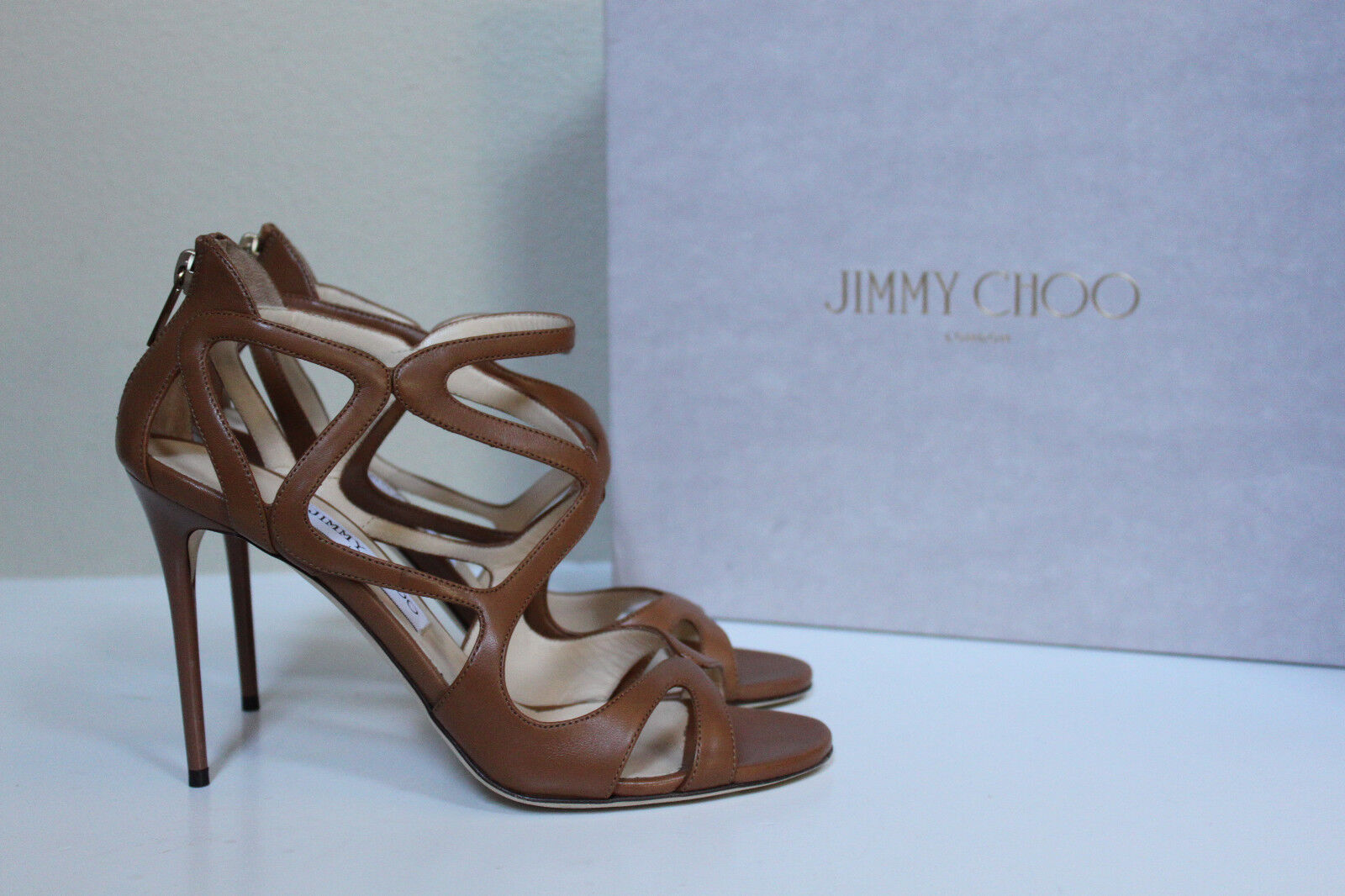 ny sz 9   39 Jimmy Choo Leslie Curvy Caged bspringaaa läder Ankle Sandal skor