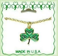 Irish Shamrock 18 Necklace, Gold Plated, St Patrick's Day, Made In Usa,