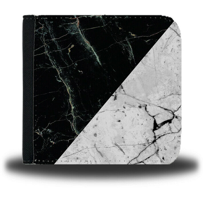 Black And White Patterned Marble Mens Leather Wallet Design Half And Half B215