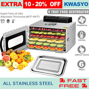 6-Tray-Digital-Electric-Food-Dehydrator-Stainless-Fruit-Dryer-Vegetable-Jerky-US