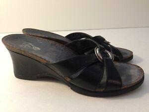 ARIAT-Black-Leather-Sandals-Slides-Wedge-Heels-Women-6-B-Style-20904-EUC