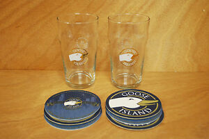 Goose-Island-Beer-16oz-Pint-Glass-amp-Coaster-Set-2-Glasses-6-Coasters-NEW-amp-F-S
