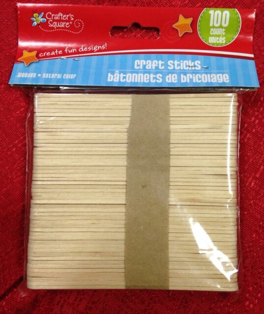 100 pcs New Colored Natural Wood Popsicle Sticks Wooden Craft Sticks 4-1//2 x 3//8