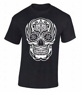 White-Sugar-Skull-T-SHIRT-Day-Of-Dead-Dia-De-Los-Muertos-Death-Gothic-Tee-Shirt