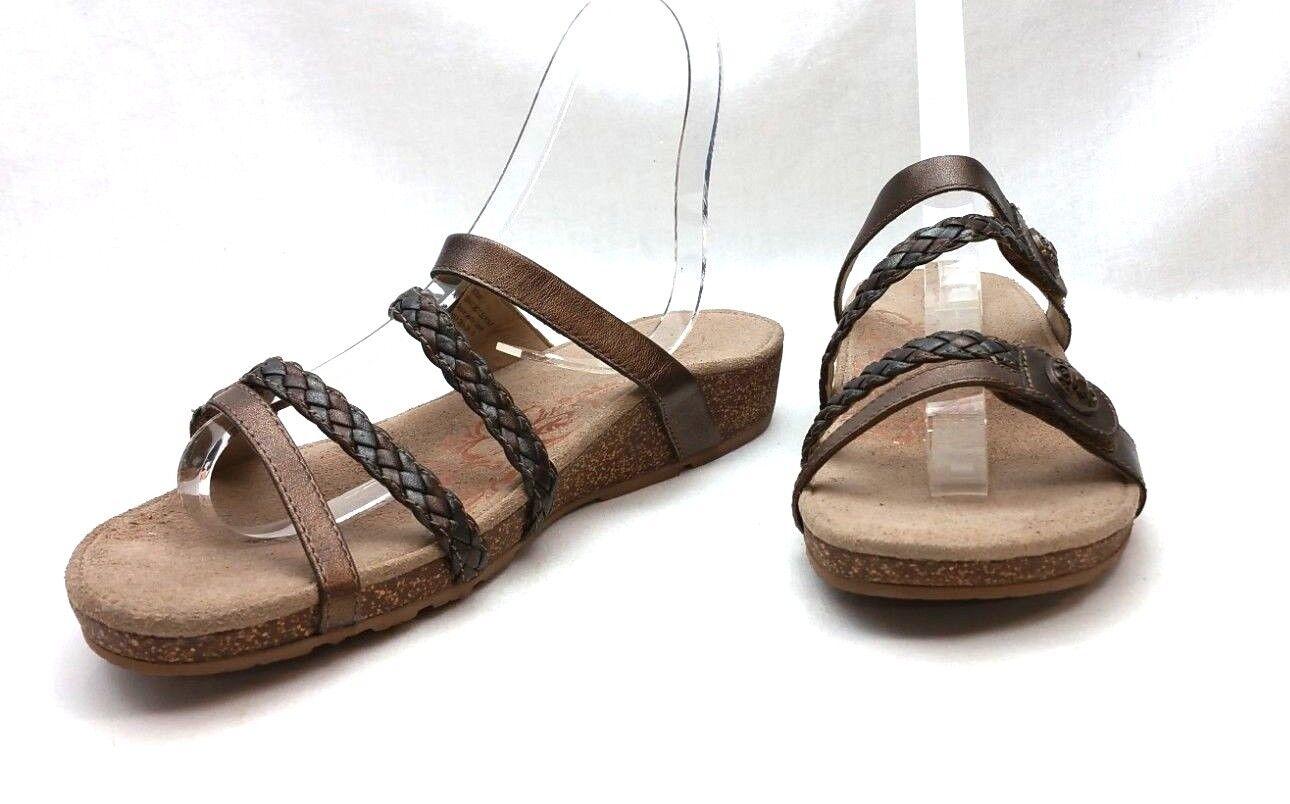 Aetrex Janey Janey Janey Trenzado diapositiva Sandalia bronce Confort Damas Para mujeres 9  Más asequible