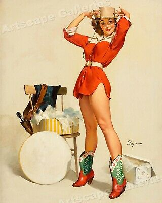 "24x30 1950s Elvgren Pin-Up Girl Poster /""Something New/"" Western Cowgirl"