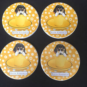 Keith-Kimberlin-Beagle-Puppy-in-a-Cup-Mug-Yellow-Coaster-Set-of-4-Encore-Group