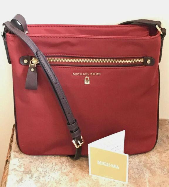 Michael Kors Nylon Kelsey Crossbody Bag Brandy Maroon,  NWT