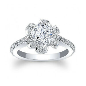 1.66 Ct Round Real Moissanite Engagement Ring 18K Solid White Gold ring Size 7 8