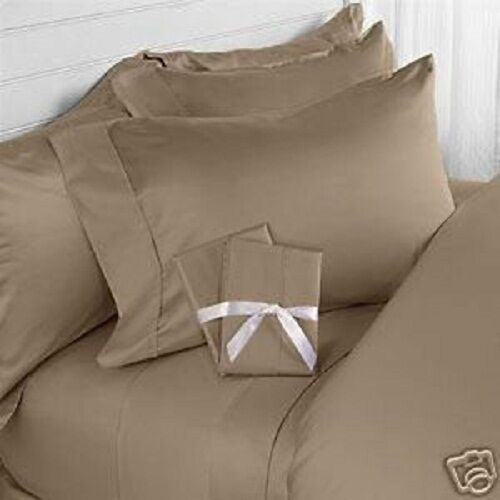 KING TAUPE SOLID 4 PIECE BED SHEET SET 800 THREAD COUNT 100% EGYPTIAN COTTON