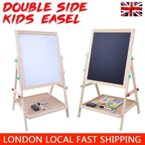 2in1 Kids Baby Pine Wood Easel Double Sided Art Drawing Blackboard Whiteboard