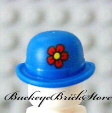 NEW Lego Minifig BLUE BOWLER HAT w/Flower - Shriners Circus Clown Head Gear