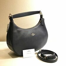 cc7f38e7a2 COACH F38250 WOMEN HANDBAG HARLEY EAST WEST HOBO IN PEBBLE LEATHER Midnight  Blue